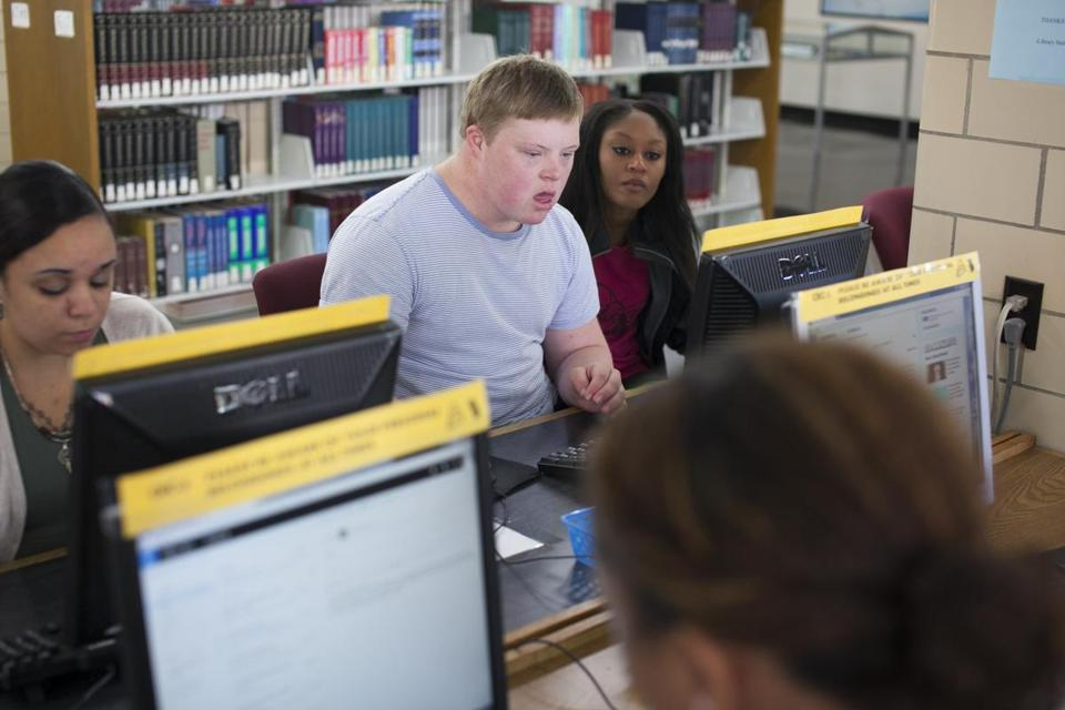 Aidan O'Donoghue worked on a video for his Digital Storytelling class with his peer mentor Jasmine James.